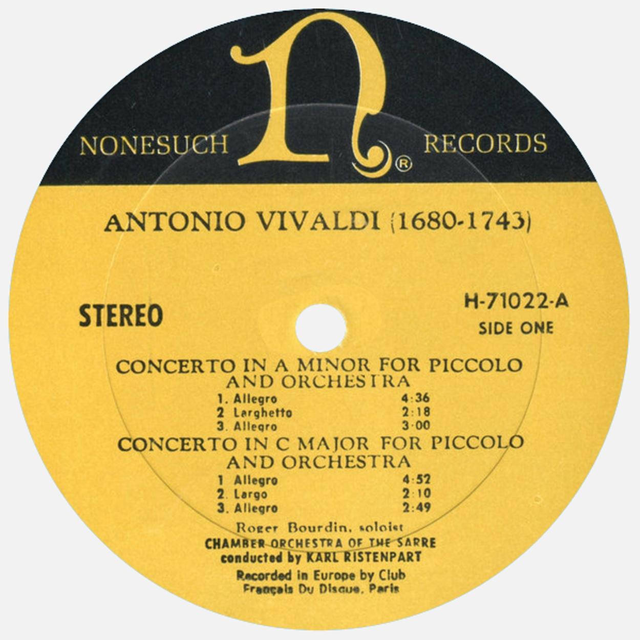 Étiquette recto du disque Nonesuch H 71022, Cliquer sur la photo pour une vue agrandie