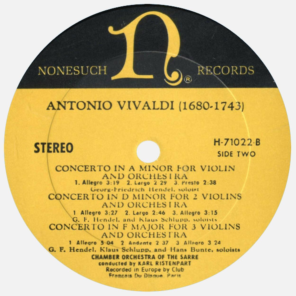Étiquette versoo du disque Nonesuch H 71022, Cliquer sur la photo pour une vue agrandie