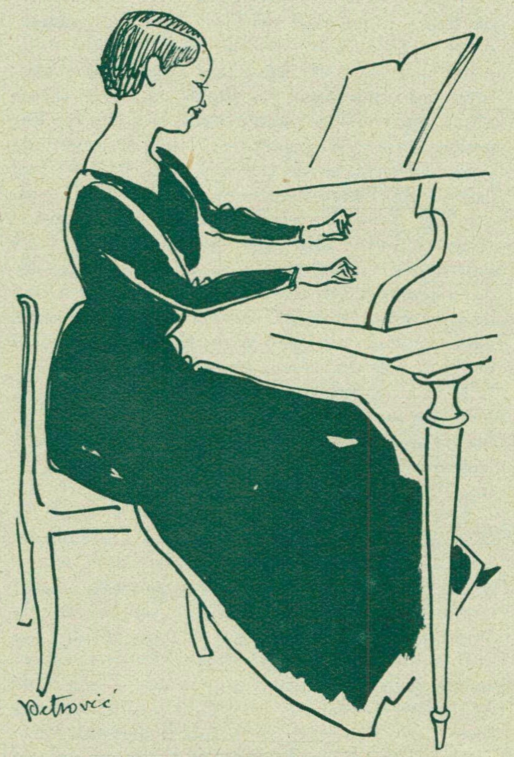 Isabelle NEF croquée par PETROVIC, un dessin publié dans la revue Le Radio du 12 mai 1933 en page 611, cliquer pour une vue agrandie