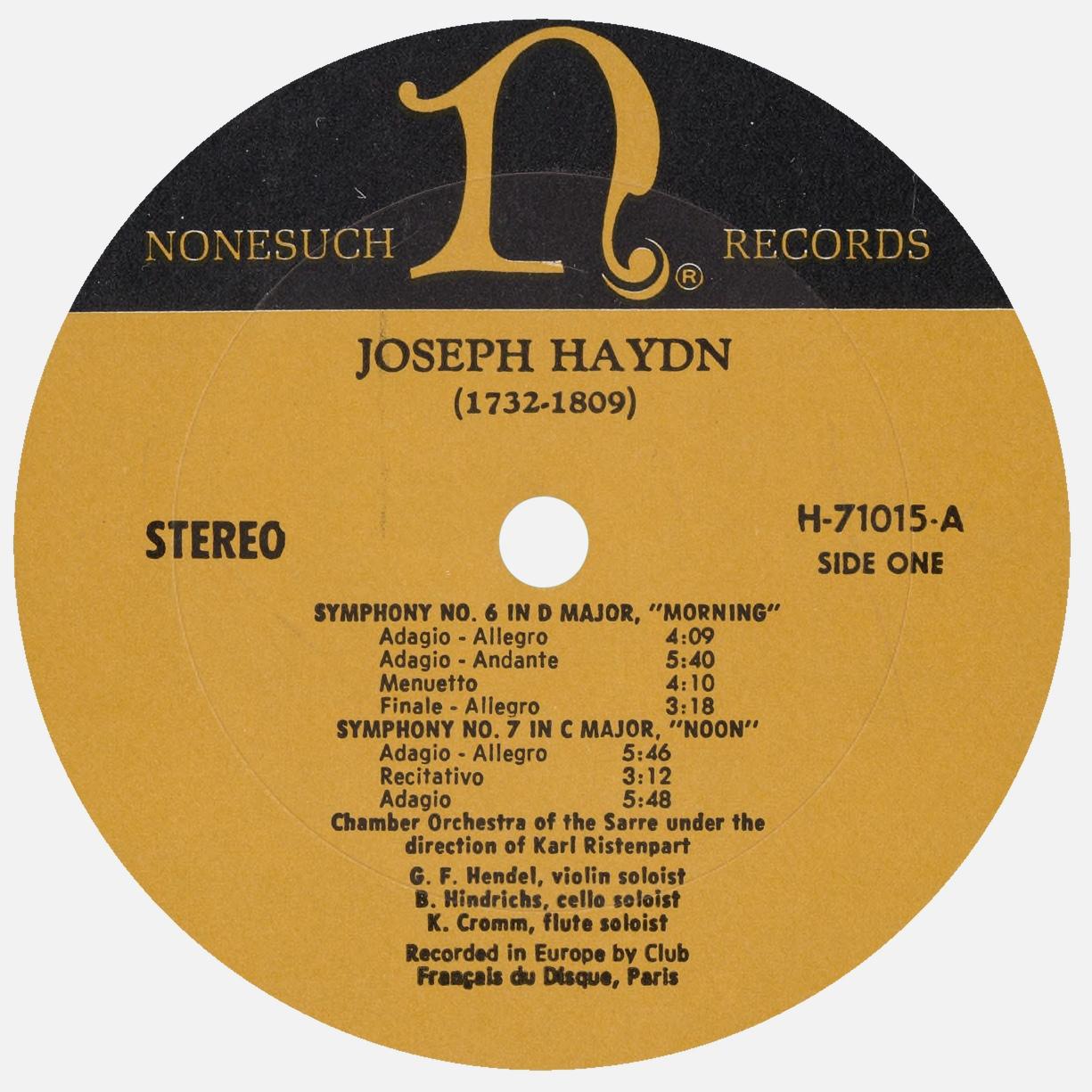 Étiquette recto du disque Nonesuch H 71015