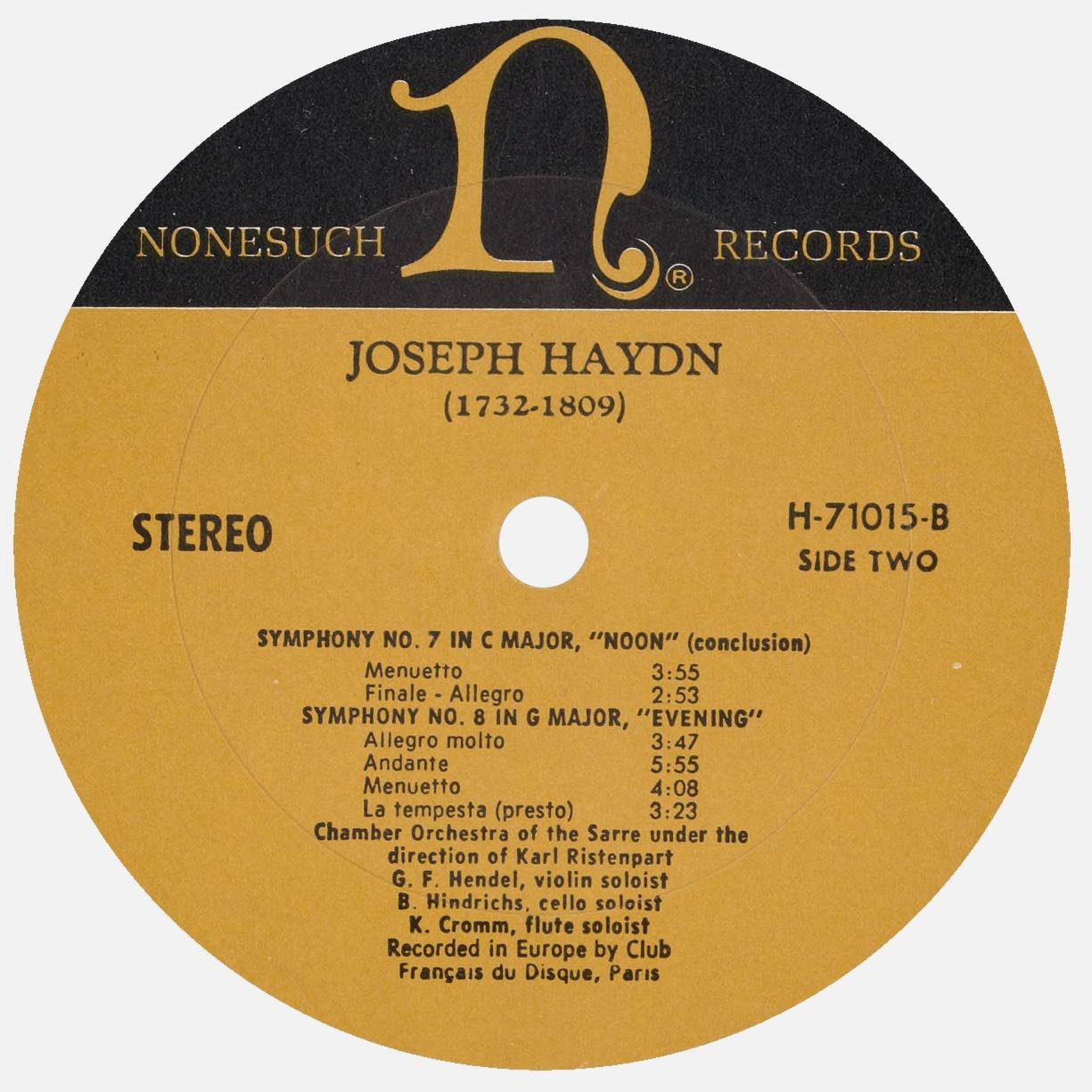 Étiquette verso du disque Nonesuch H 71015