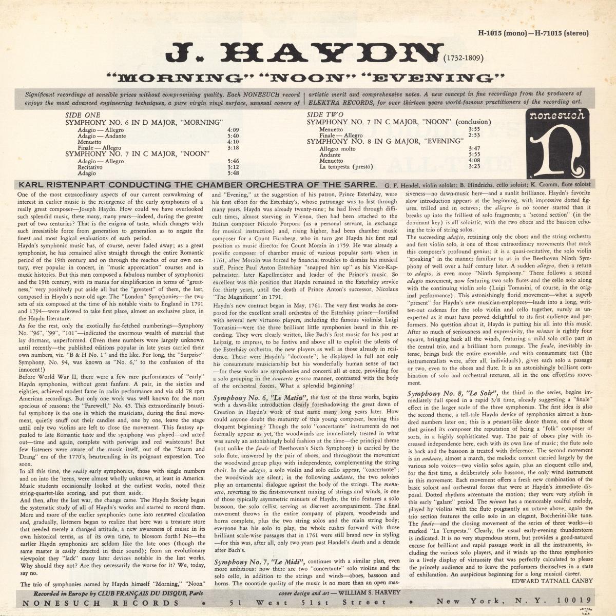 Verso de la pochette du disque Nonesuch H 71015