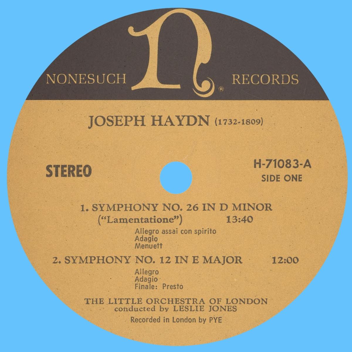 Étiquette recto du disque Nonesuch H 71083
