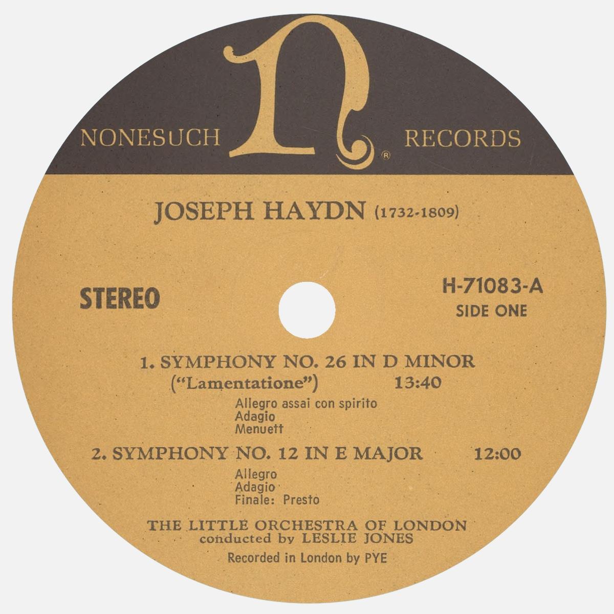 Étiquette recto du disque Nonesuch H-71083