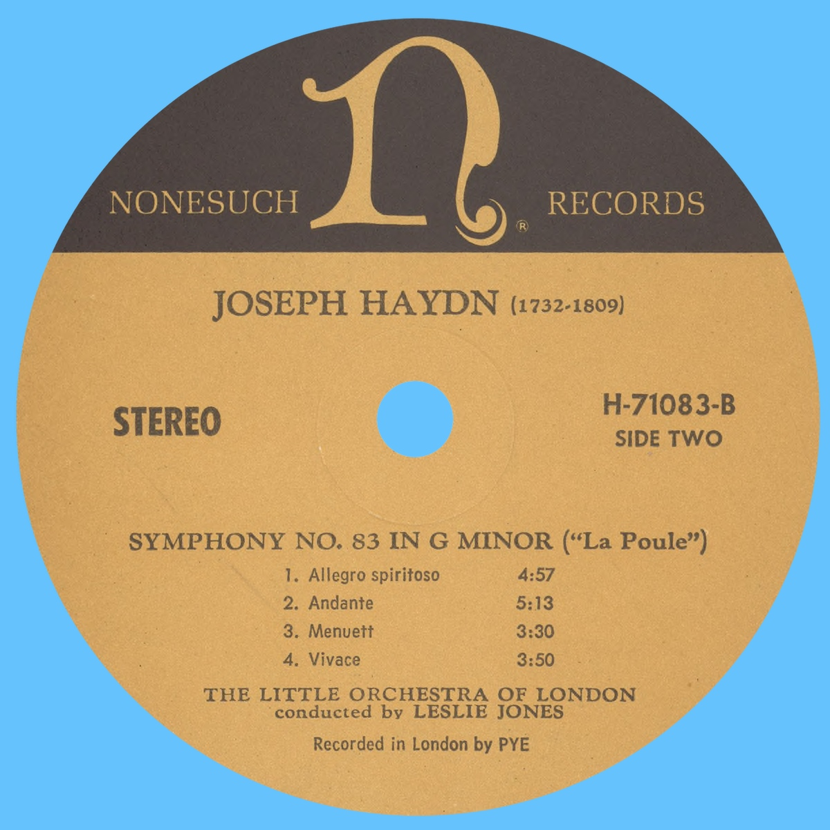Étiquette verso du disque Nonesuch H 71083