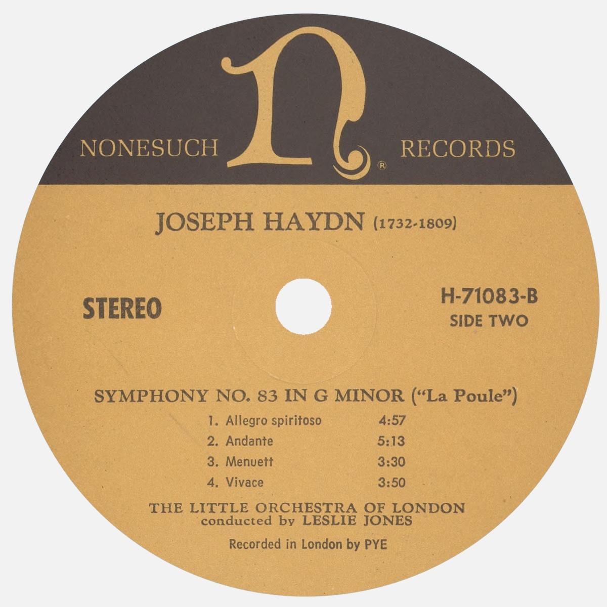 Étiquette verso du disque Nonesuch H-71083