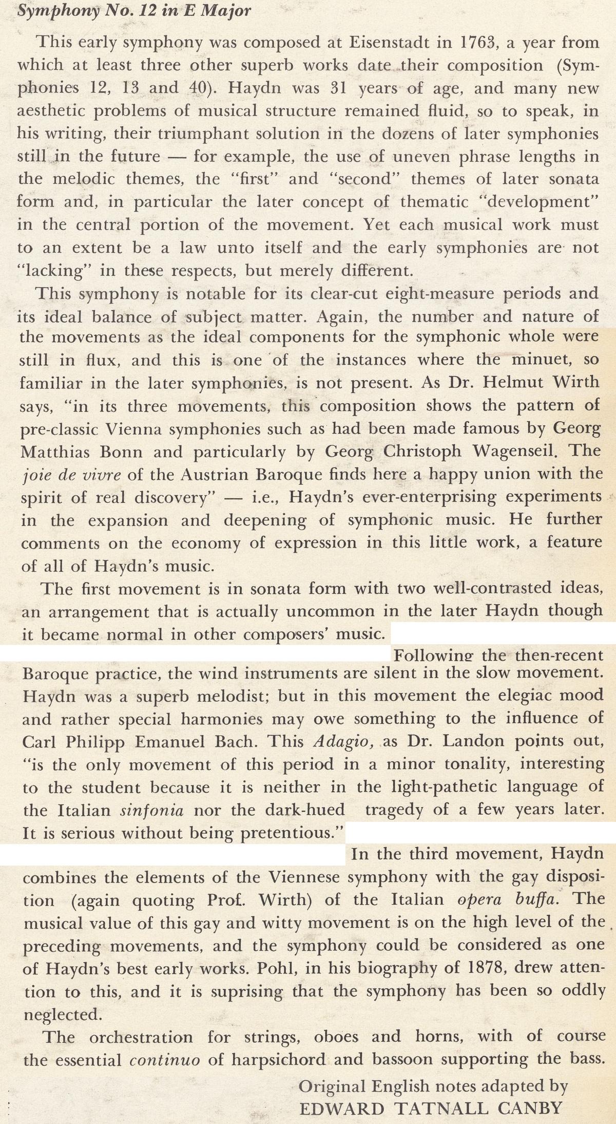 extrait des notes de Edward Tatnall Canby publiées au verso de la pochette du disque Nonesuch H 71083