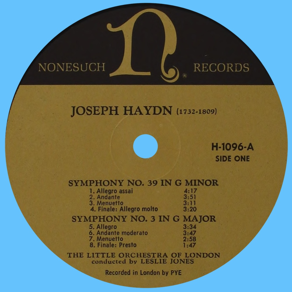 Étiquette recto du disque Nonesuch H 1096