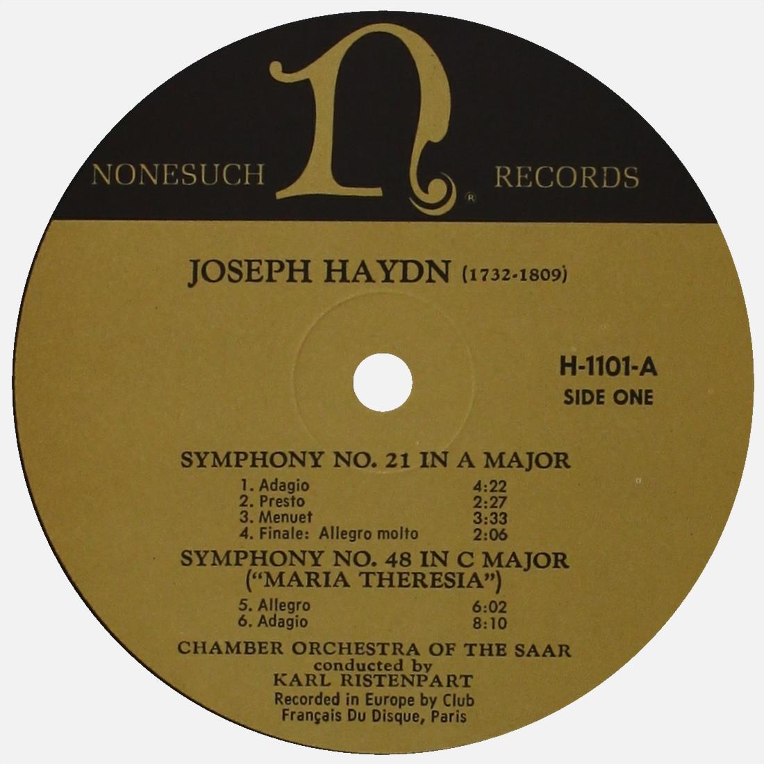 Étiquette recto du disque Nonesuch H-1101