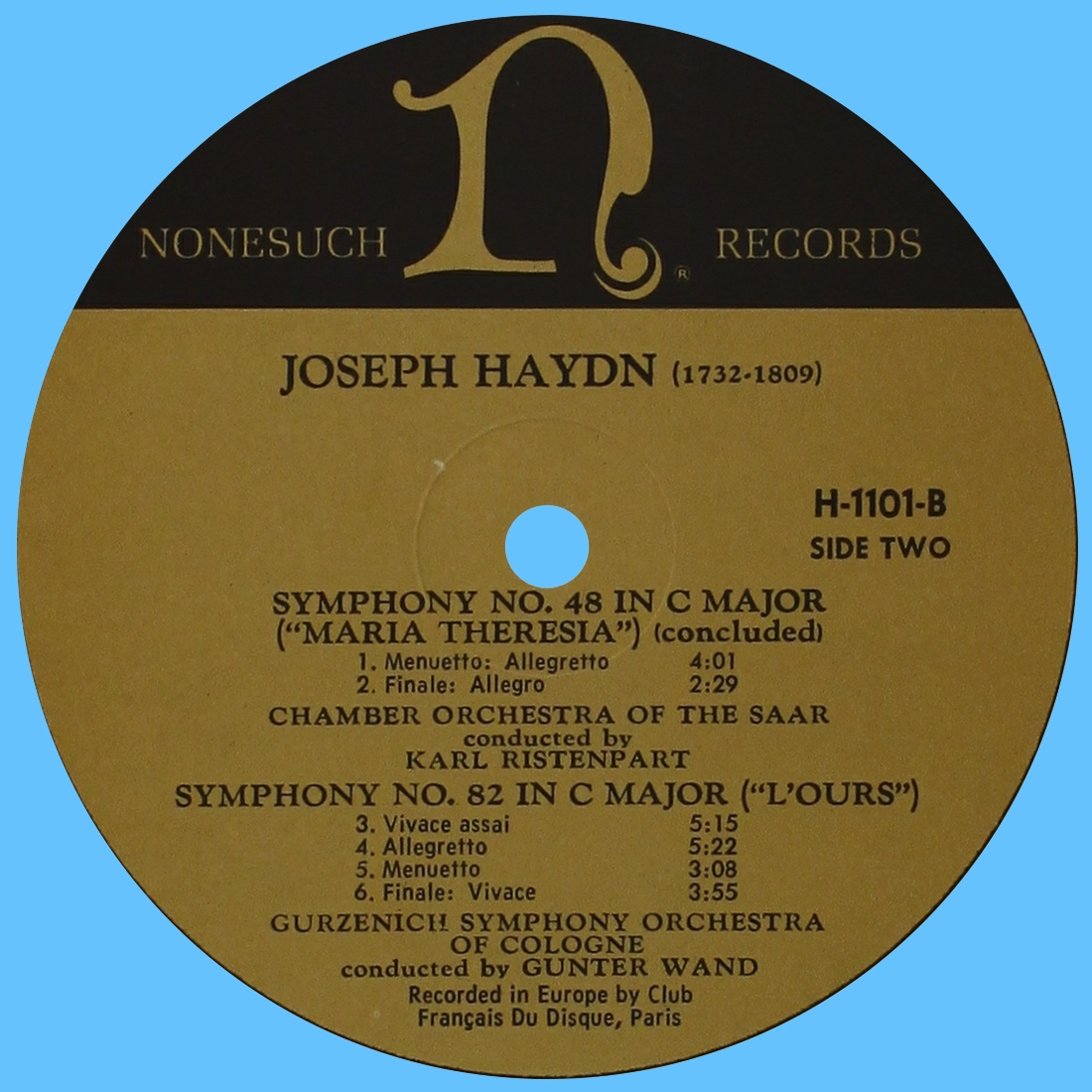Étiquette verso du disque Nonesuch H-1101
