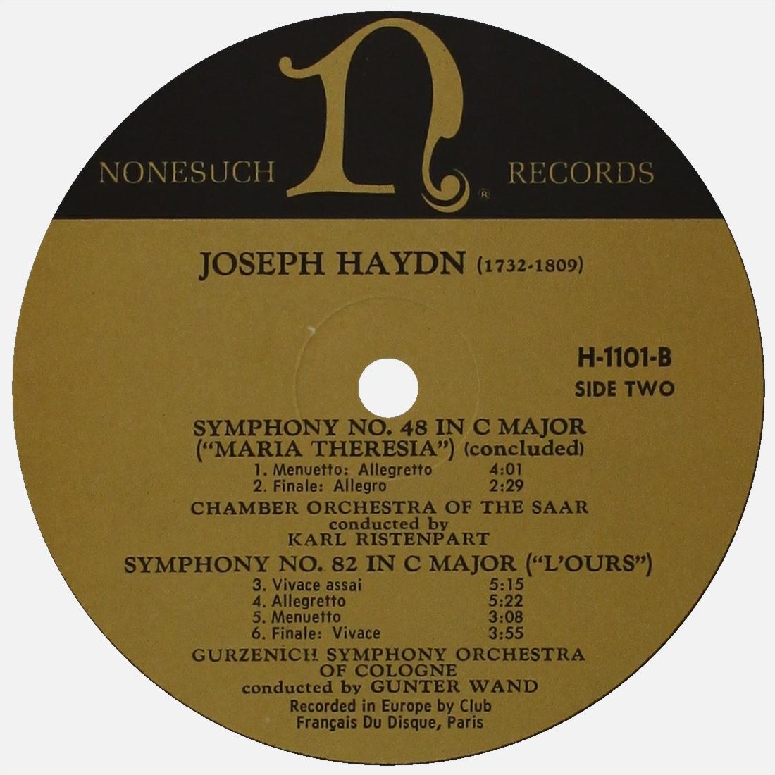 Étiquette versoo du disque Nonesuch H-1101