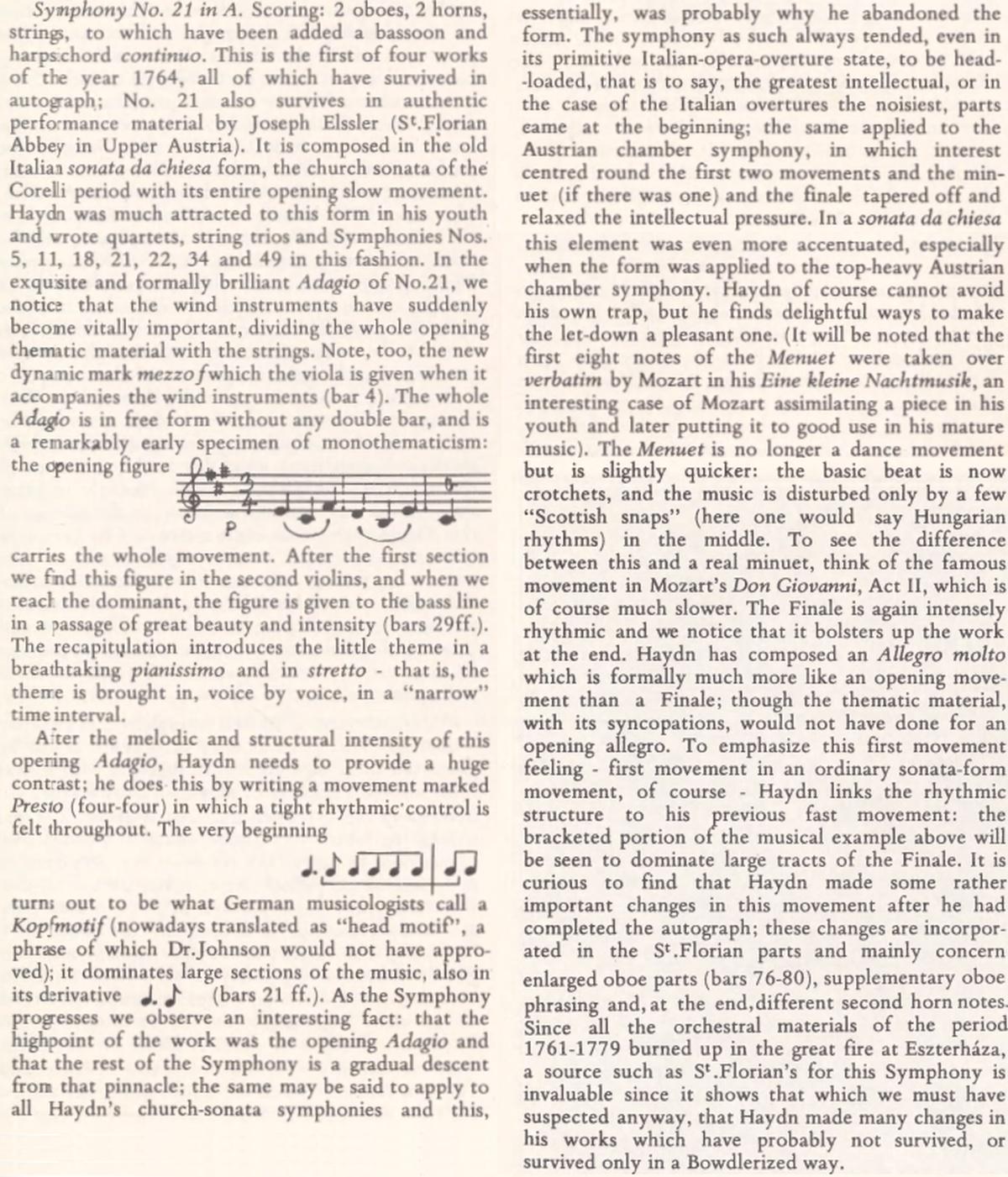 extrait des Notes on Symphonies 20-35 by H.C. Robbins Landon publiées en décembre 1972 dans le 7e volume de l'intégrale des symphonies de Haydn enregistrée sous la direction d'Antal Dorati