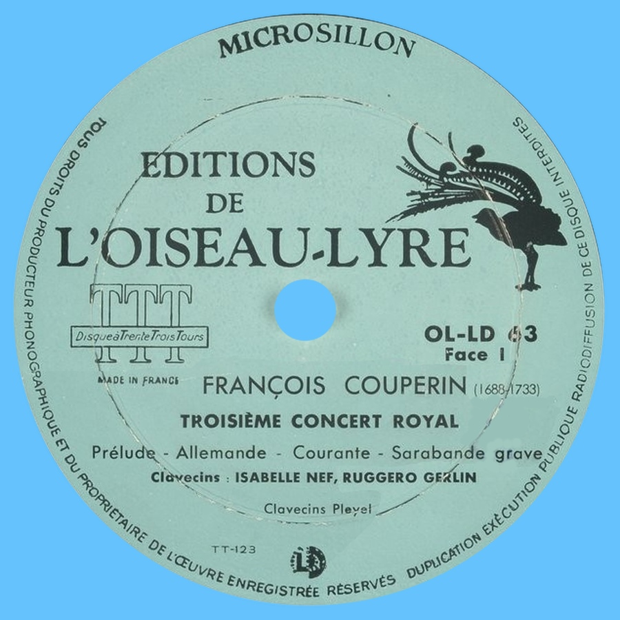 Étiquette recto du disque Éditions de L'Oiseau-Lyre OL-LD 53