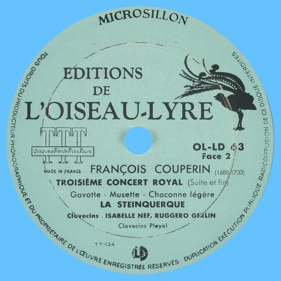 Étiquette verso du disque Éditions de L'Oiseau-Lyre OL-LD 53