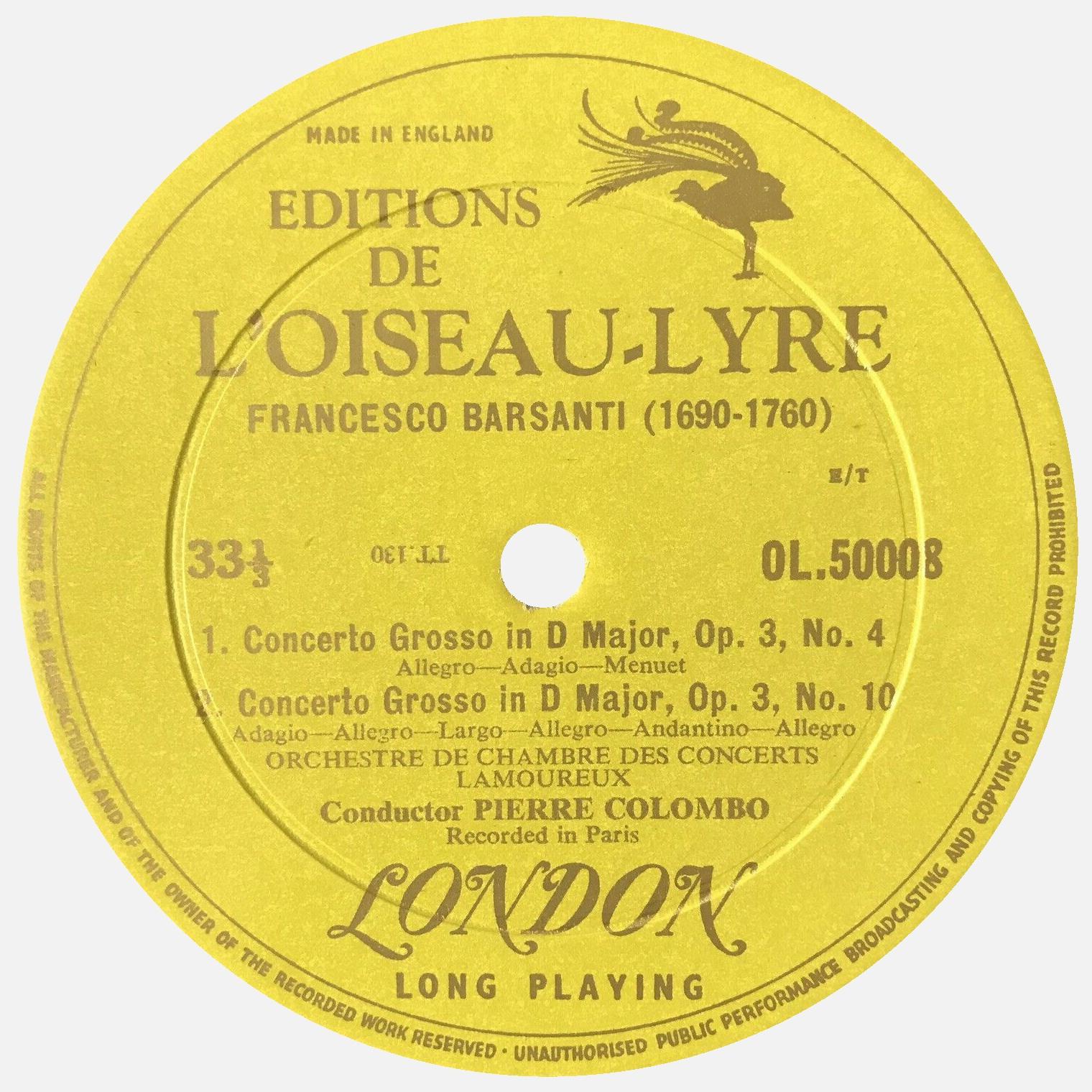 Étiquette verso du disque Oiseau-Lyre OL 50008