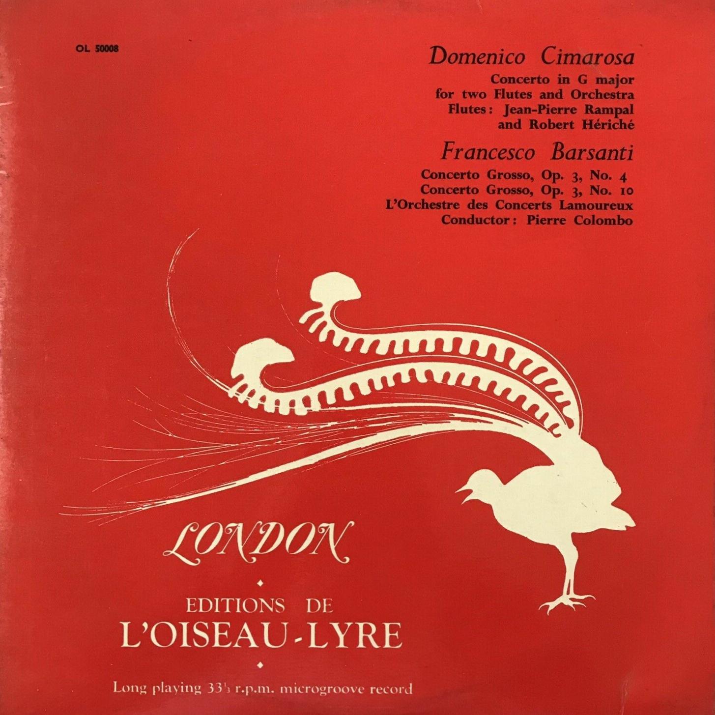 Recto de la pochette du disque Oiseau-Lyre OL 50008