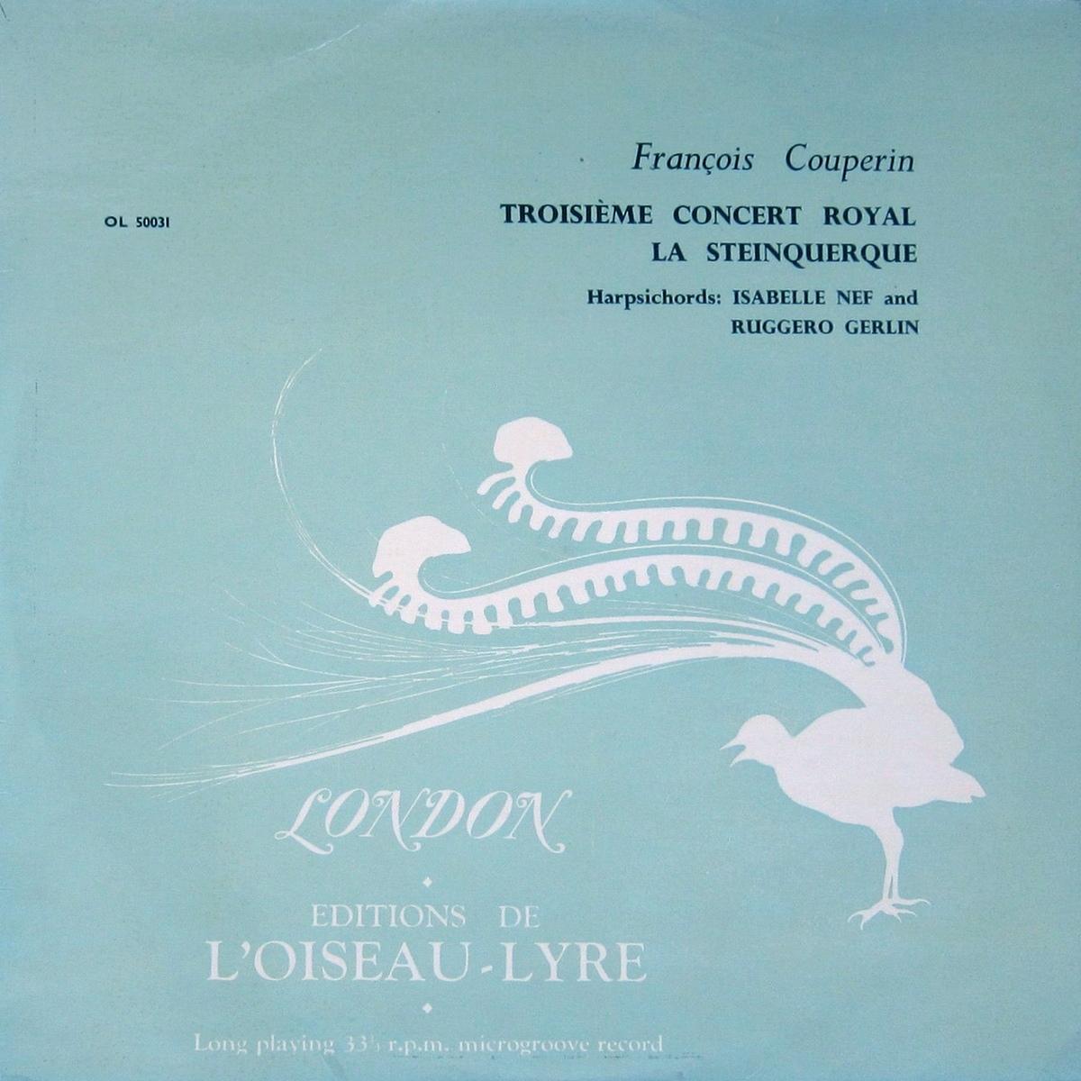 Recto de la pochette du disque Éditions de L'Oiseau-Lyre OL-LD 53, OL 50031