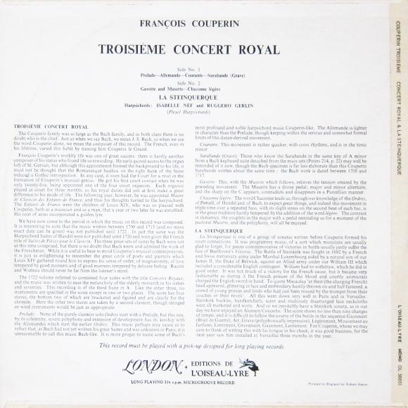 Verso de la pochette du disque Éditions de L'Oiseau-Lyre OL-LD 53, OL 50031