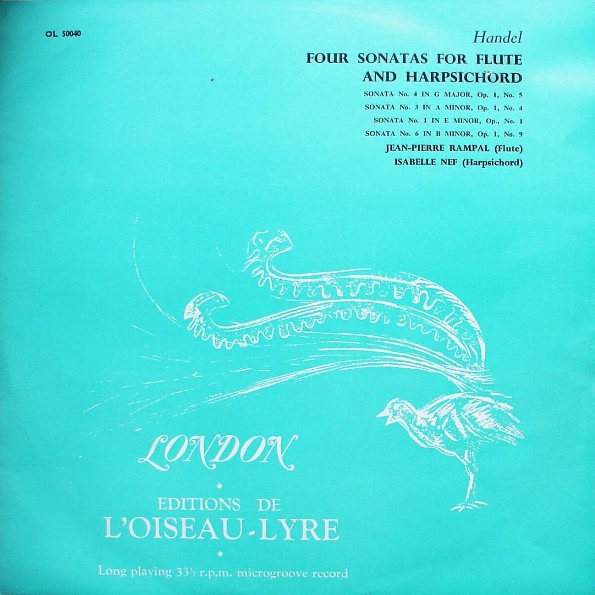 Recto de la pochette du disque Oiseau Lyre OL 50040