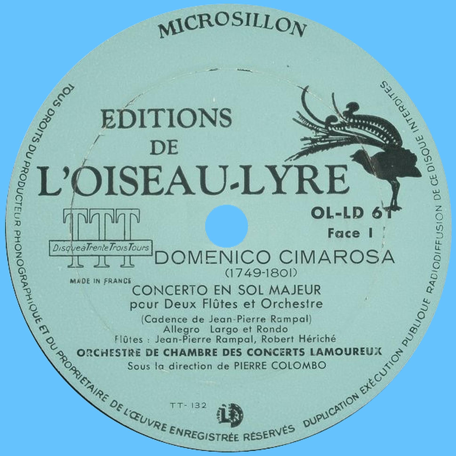 Étiquette recto du disque Oiseau-Lyre OL-LD-61