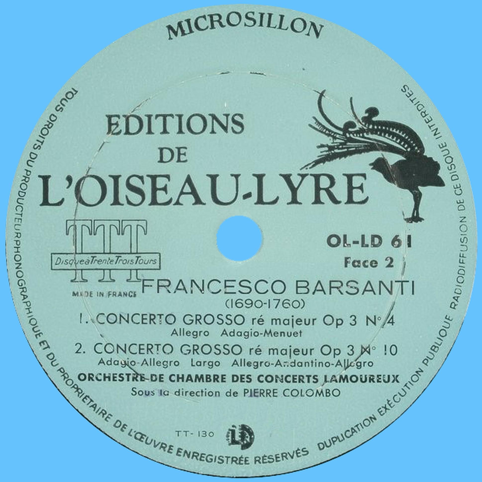 Étiquette verso du disque Oiseau-Lyre OL-LD-61