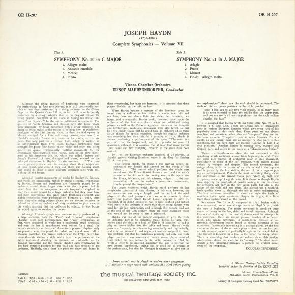 Verso de la pochette du disque Musical Heritage Society, OR Series, OR H-207