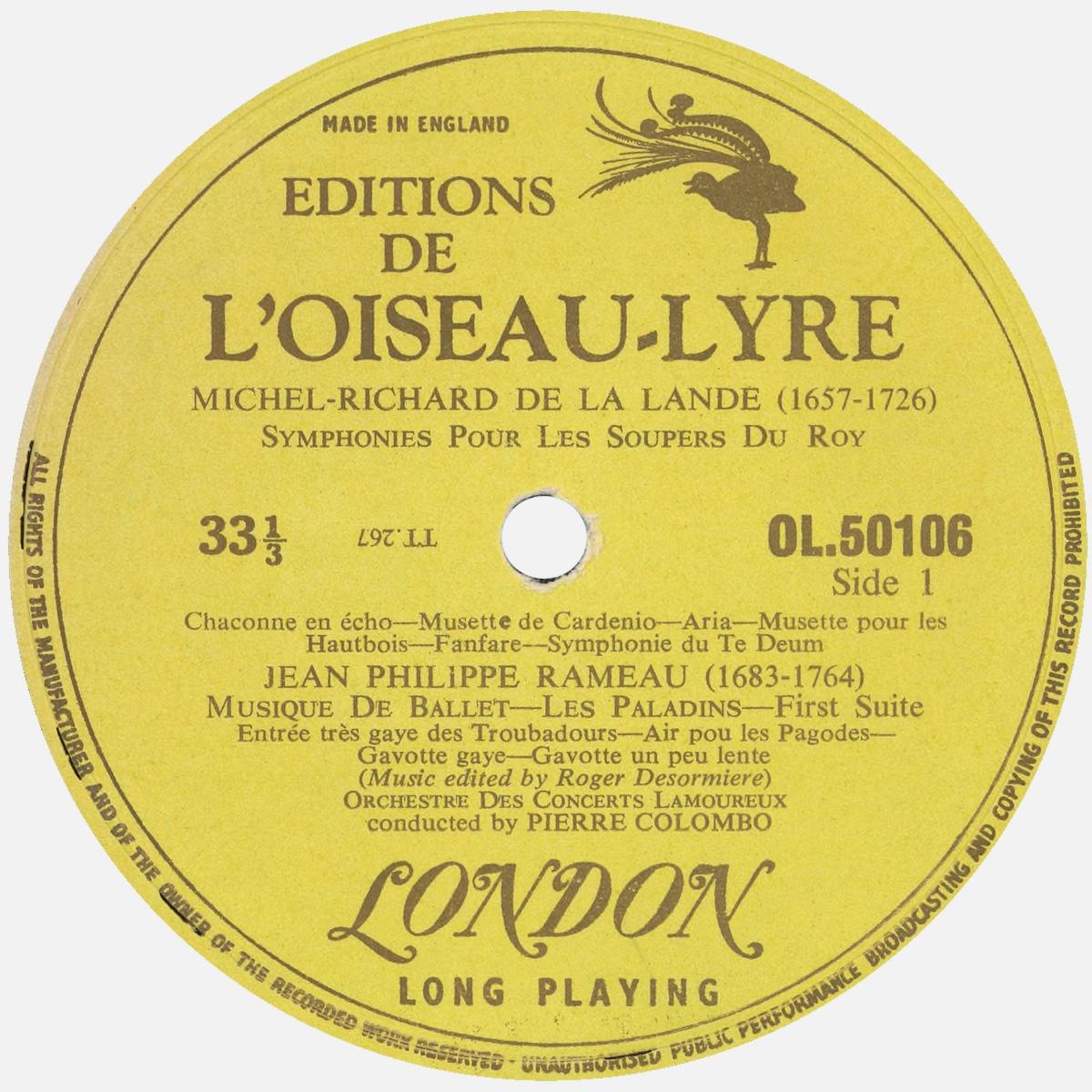 Étiquette recto du disque Oiseau-Lyre OL 50106