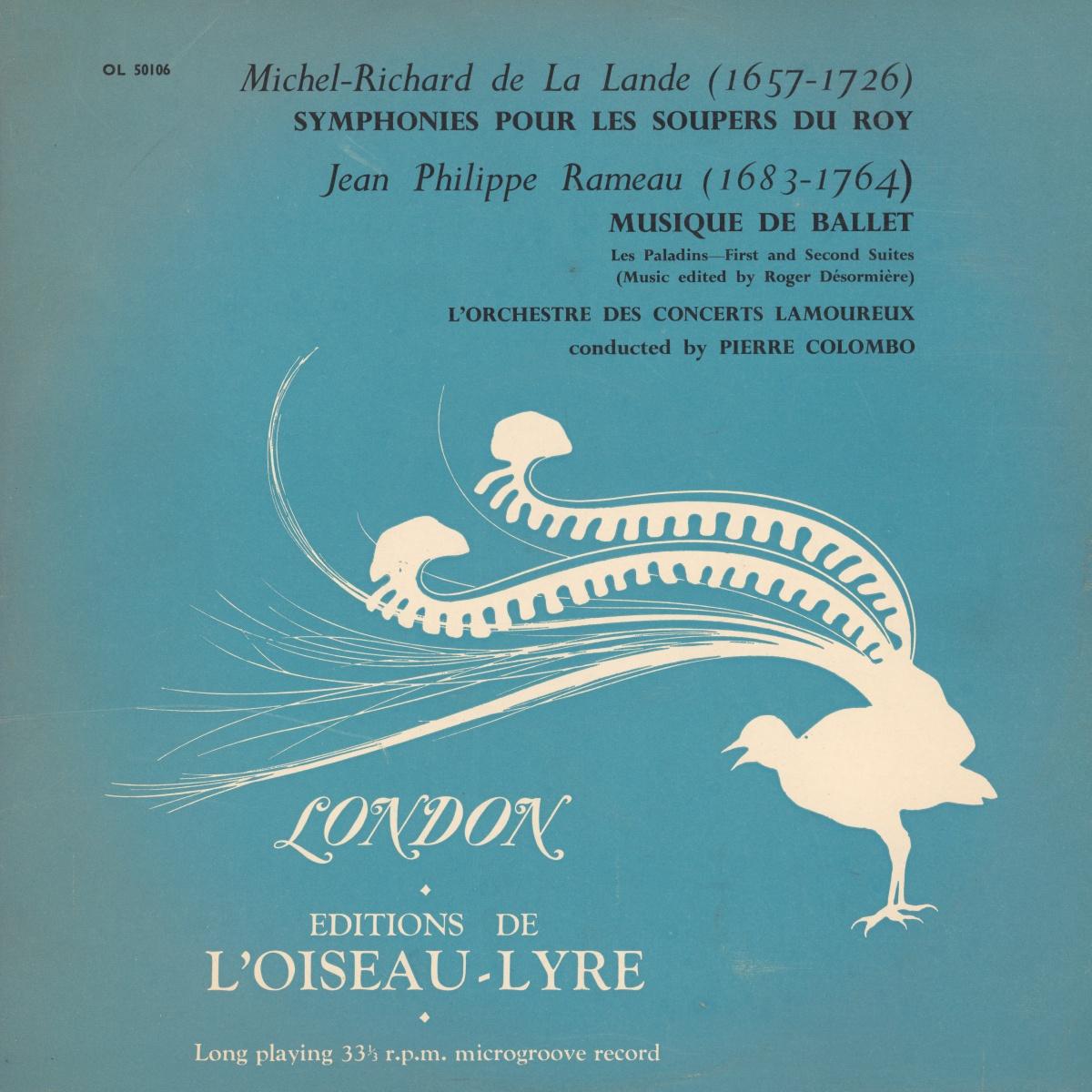 Recto de la pochette du disque Oiseau-Lyre OL 50106