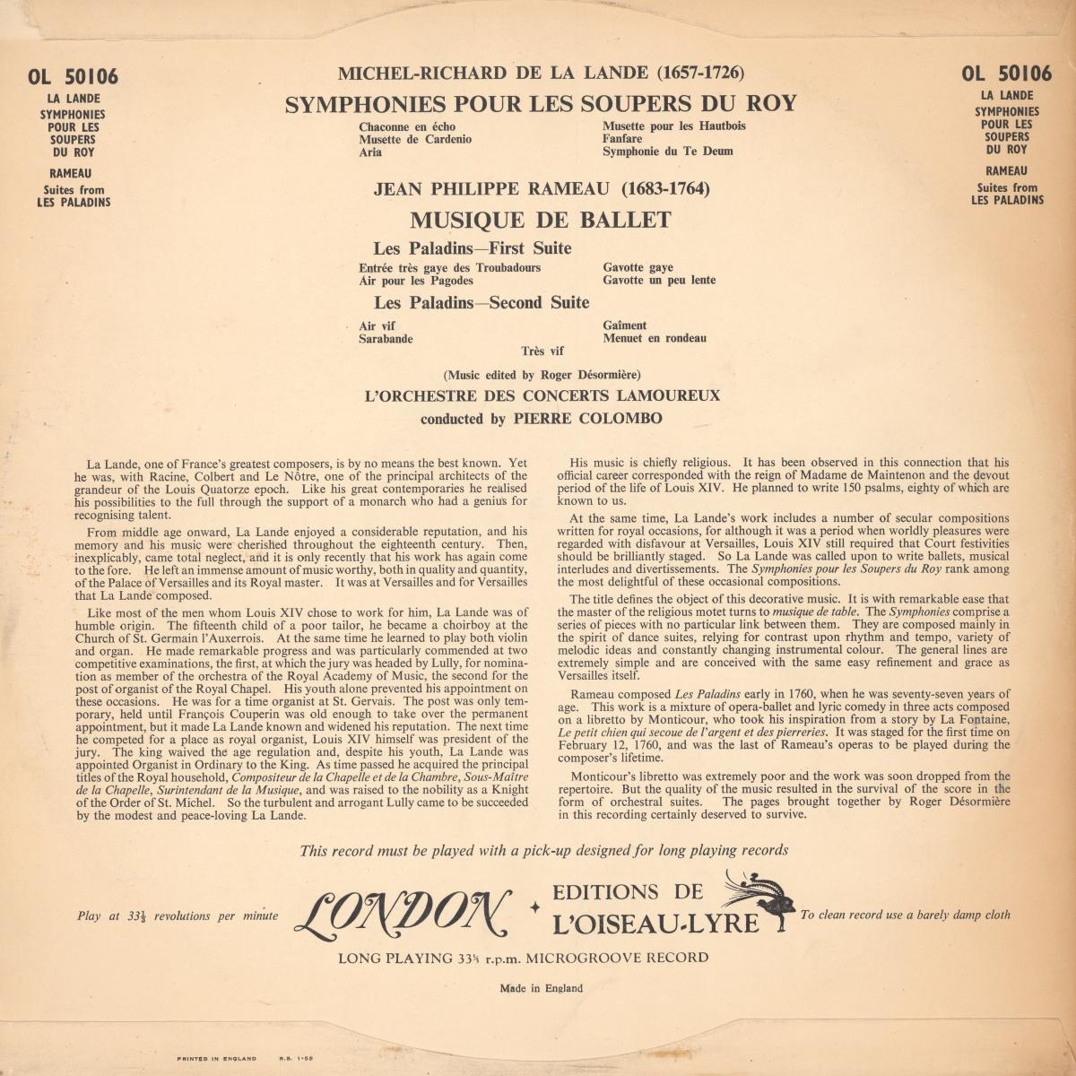 Verso de la pochette du disque Oiseau-Lyre OL 50106