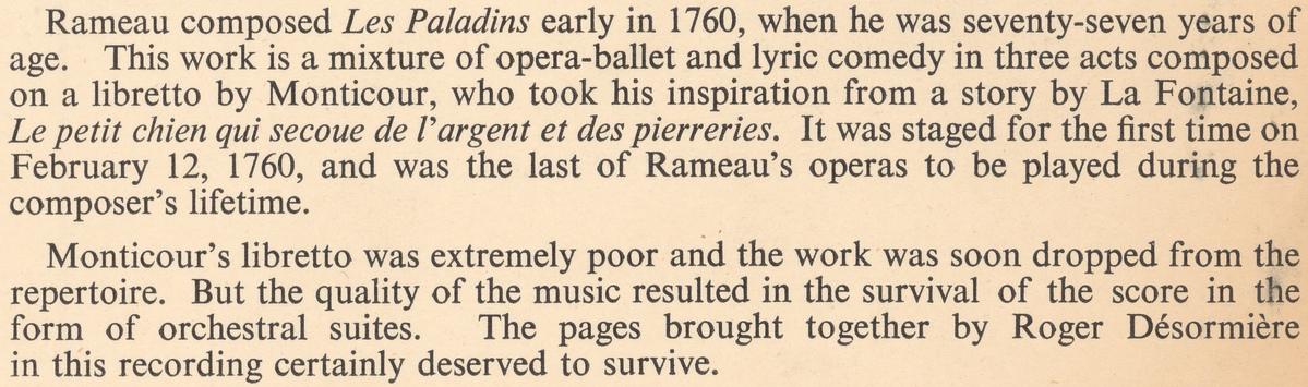 Extrait du verso de la pochette du disque Oiseau-Lyre OL 50106
