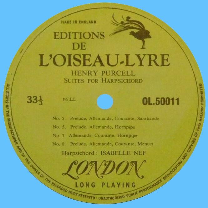 Étiquette verso du disque OL 50011