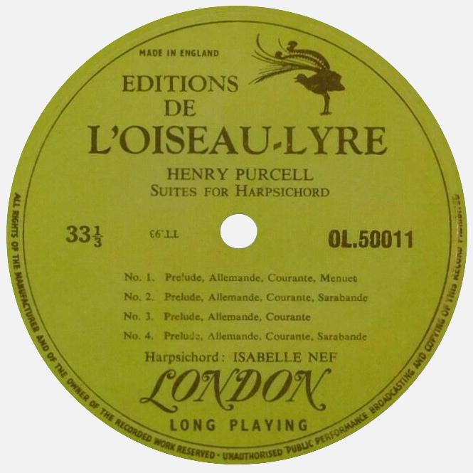 Étiquette recto du disque OL 50011