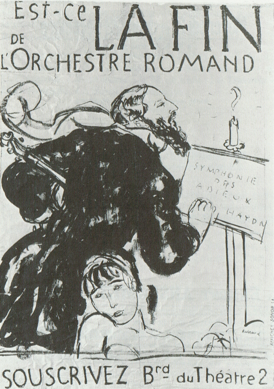 Extrait d'une affiche humoristique montrant Ernest Ansermet soufflant une bougie, de Maurice Barraud, non datée, Cliquer sur la photo pour l'original et ses références