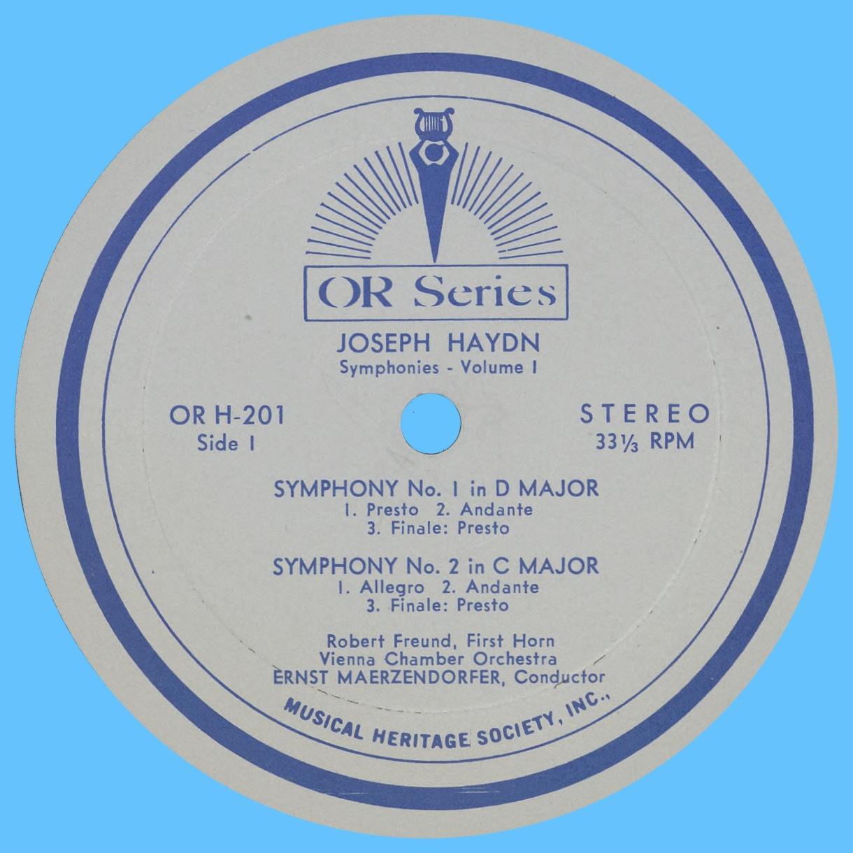 Étiquette recto du disque MHS Orpheus OR H-101
