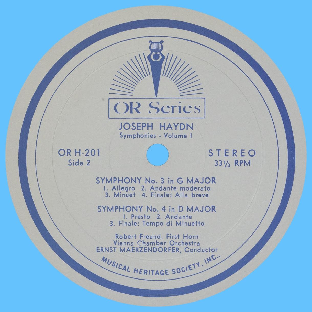 Étiquette verso du disque MHS Orpheus OR H-101