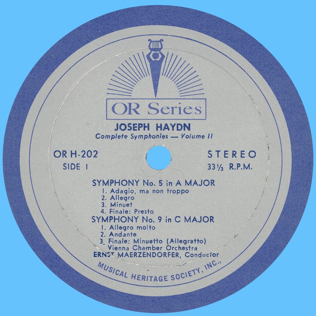 Étiquette recto du disque MHS Orpheus OR H-202