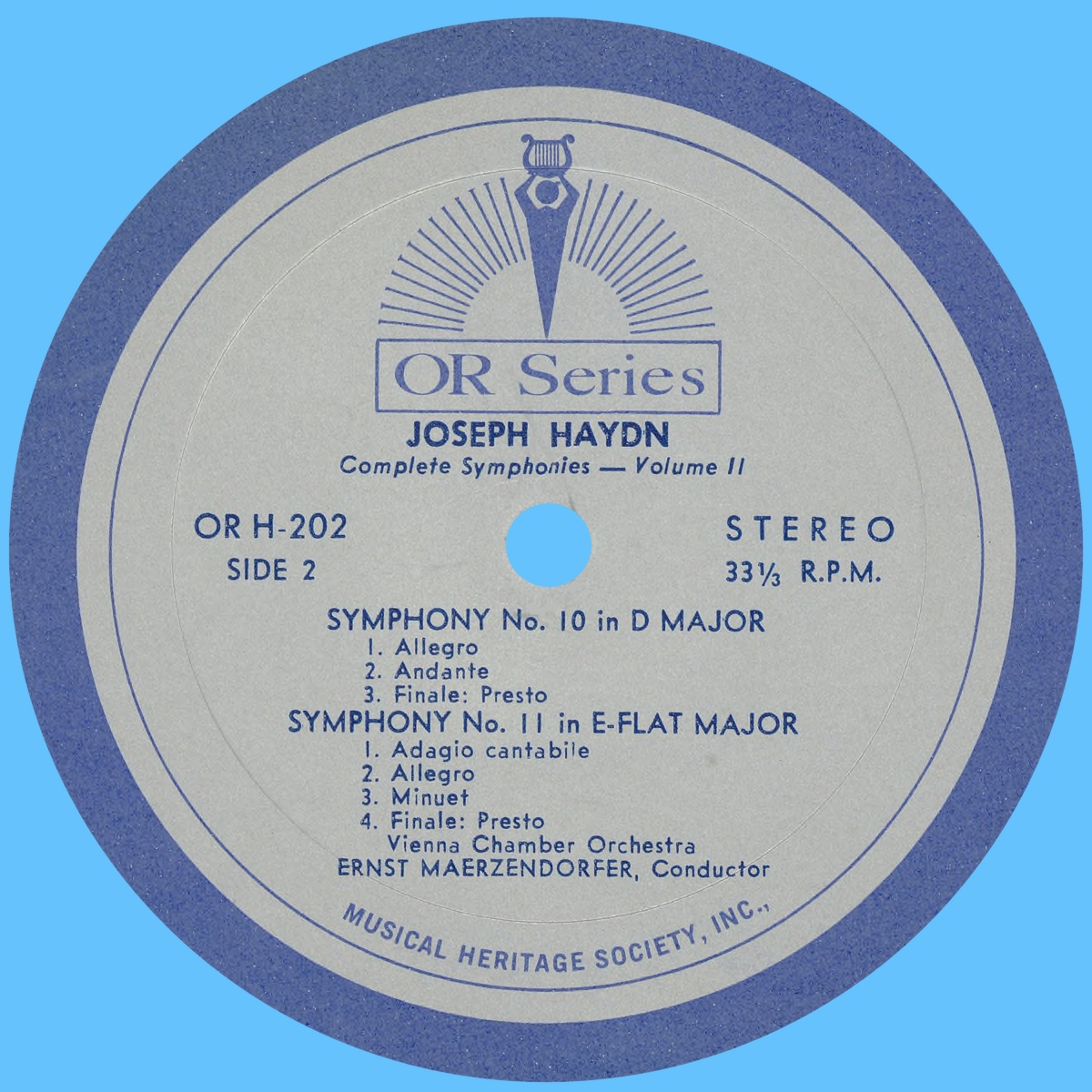 Étiquette verso du disque MHS Orpheus OR H-202