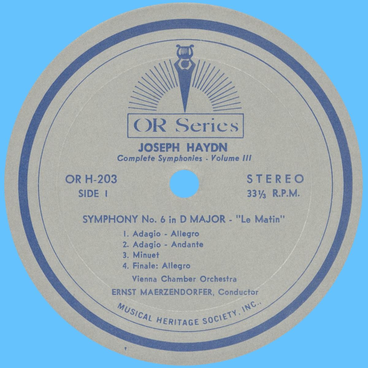 Étiquette recto du disque MHS Orpheus OR H-203