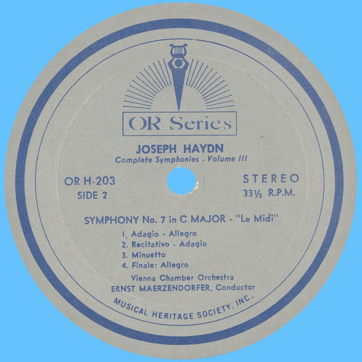 Étiquette verso du disque MHS Orpheus OR H-203
