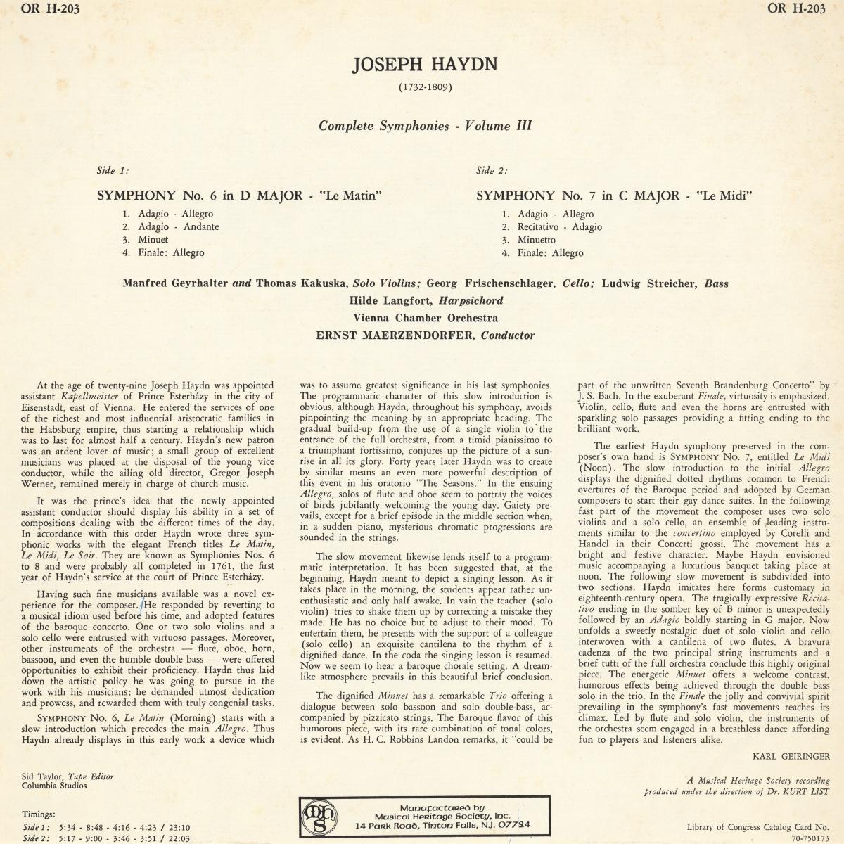 Verso de la pochette du disque MHS Orpheus OR H-203