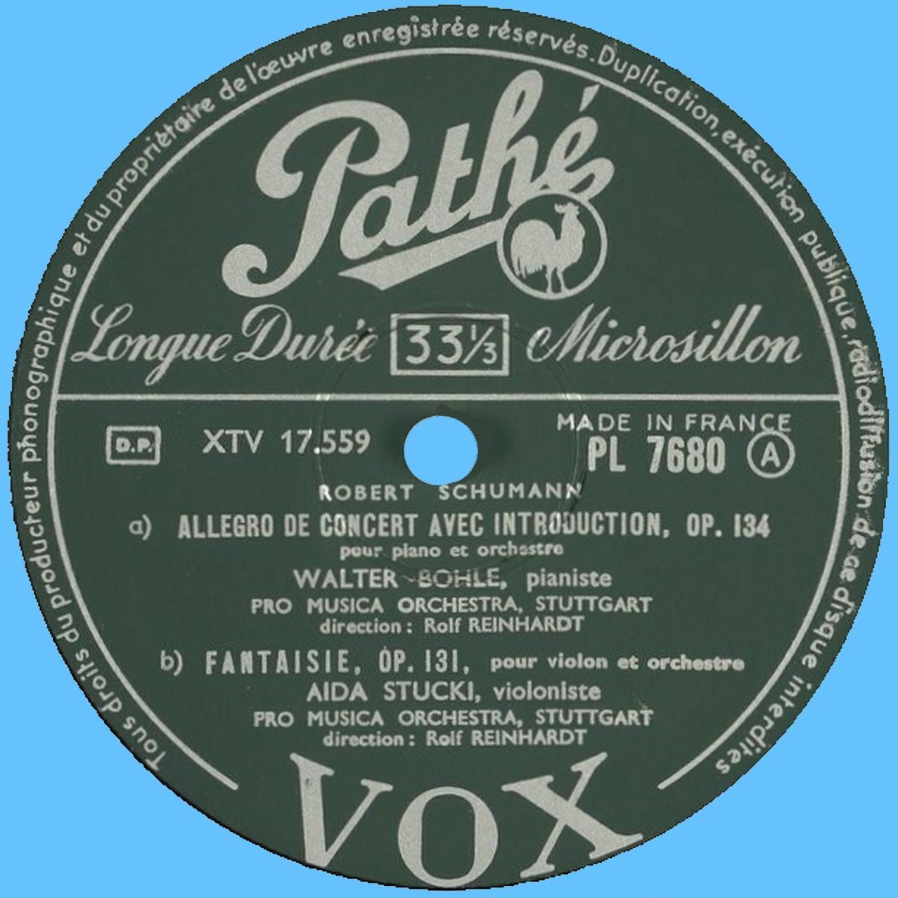 Étiquette recto du disque Pathé-VOX PL 7680
