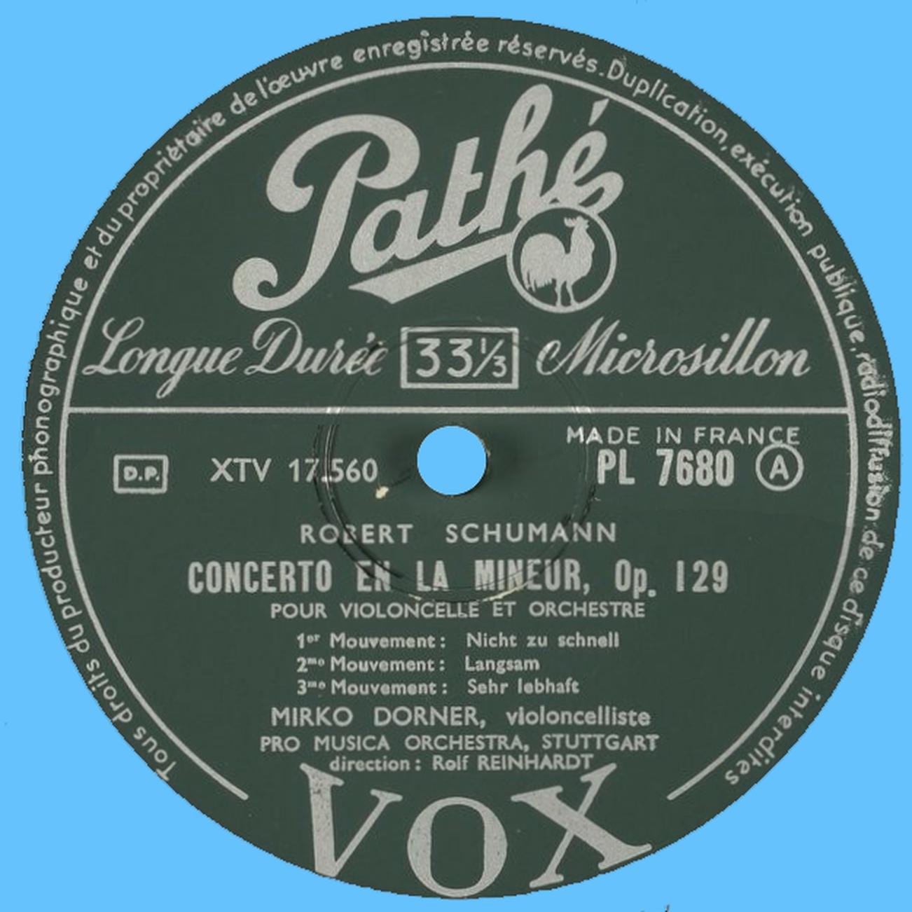 Étiquette verso du disque Pathé-VOX PL 7680