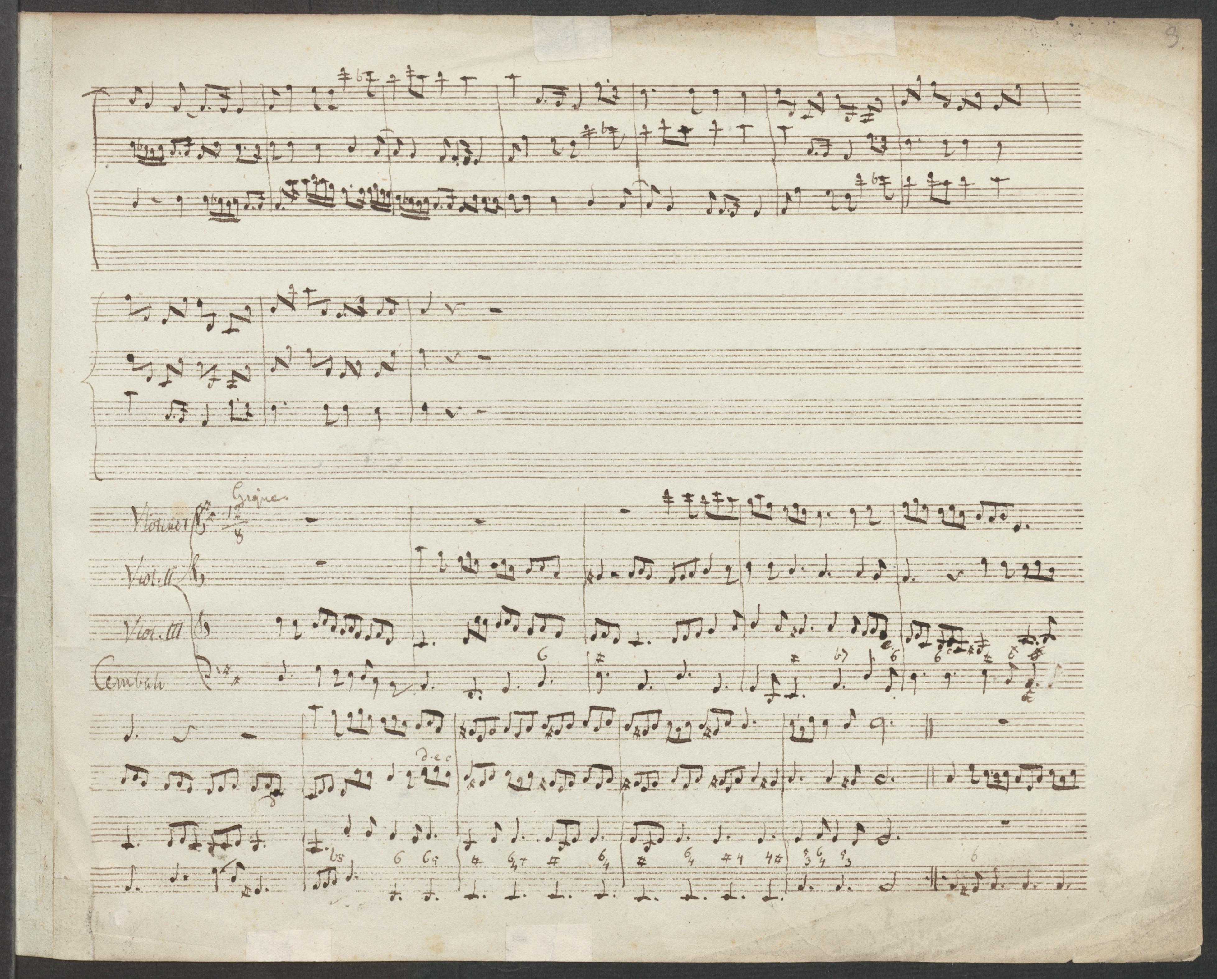 Partition manuscripte du Canon et Gigue de Pachelbel, Staatsbibliothek zu Berlin - Preußischer Kulturbesitz, Berlin, Cliquer sur la photo pour voir l'original et plus d'infos