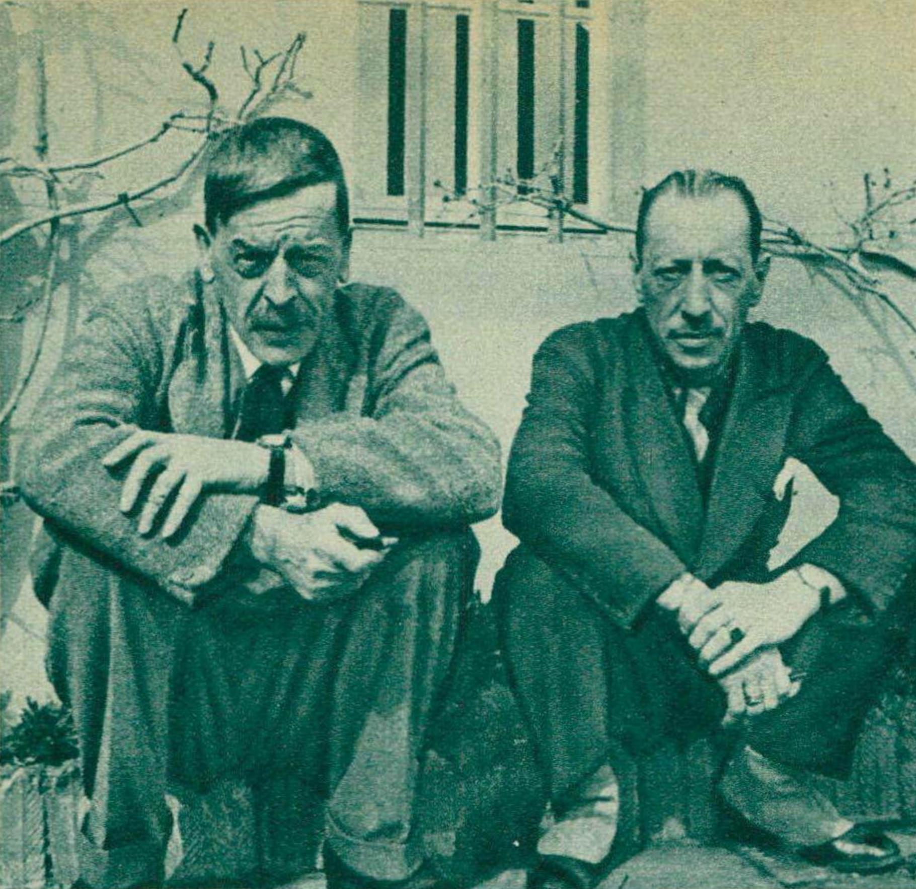 Charles Ferdinand RAMUZ et Igor Strawinski en 1934, une photo faite par ?? publiée dans la revue Le Radio du 19 janvier 1934, No 563, page 87