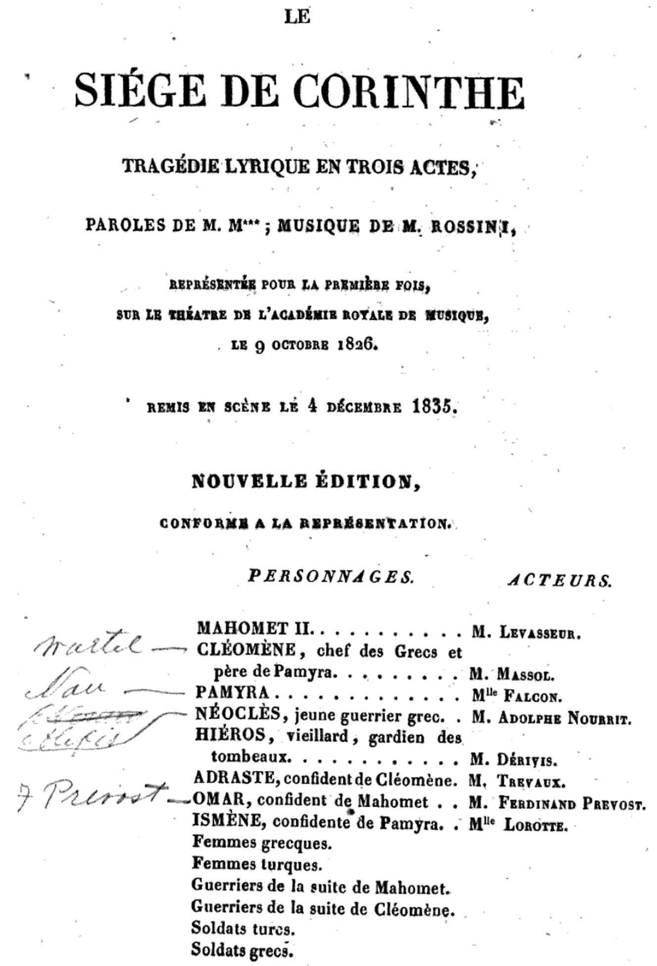 Page de titre et distribution dans l'édition Duverger, Paris, 1836, Cliquer sur la photo pour une vue agrandie et quelques infos