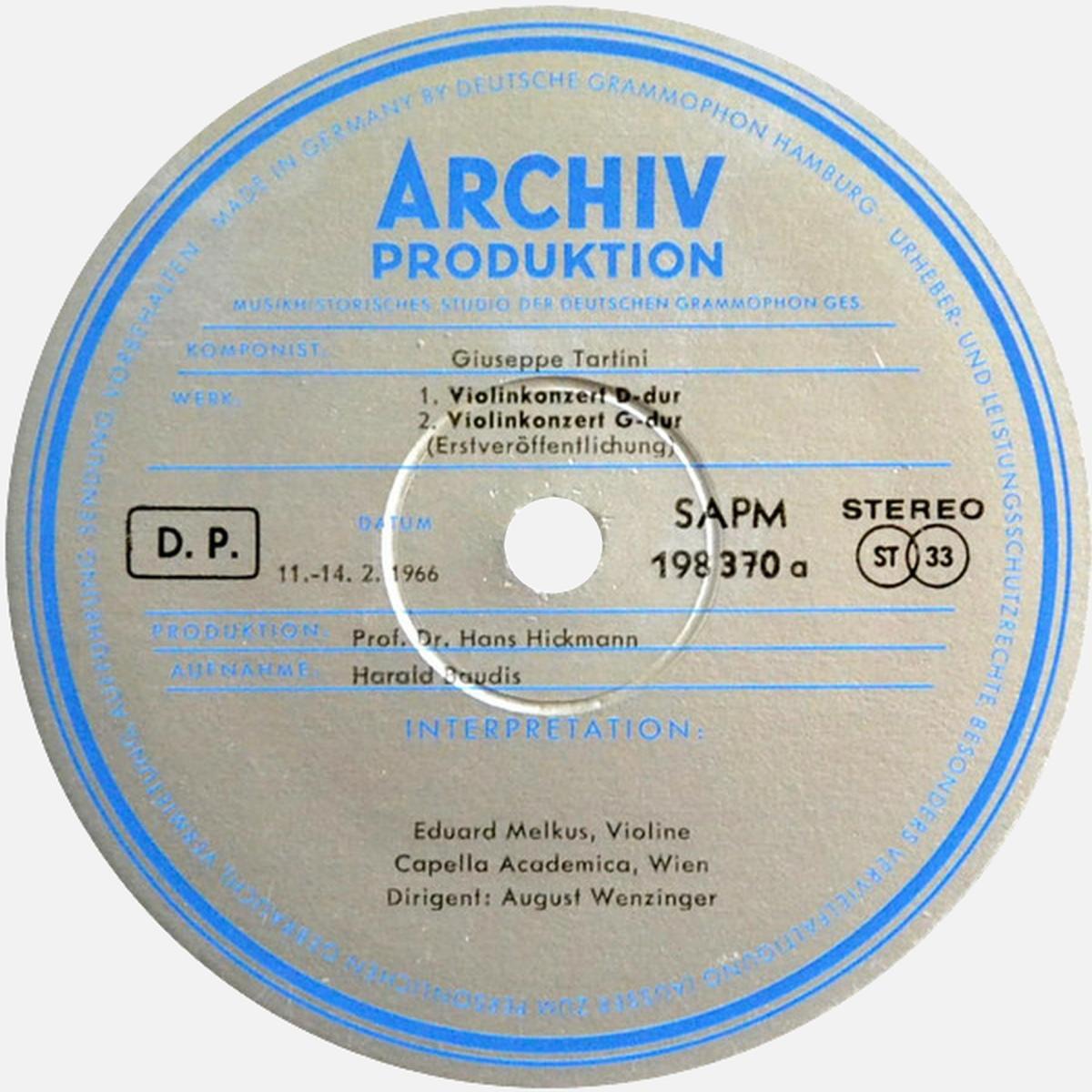 étiquette recto du disque ARC 73270 SAPM 198 370