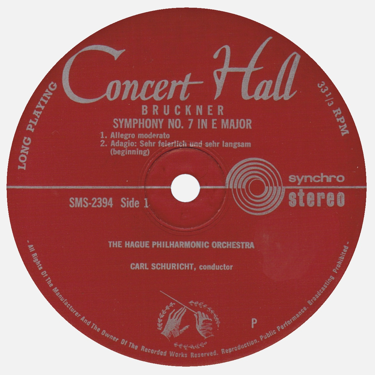 Étiquette recto du disque Concert Hall / Musical Masterpiece Society SMS 2304