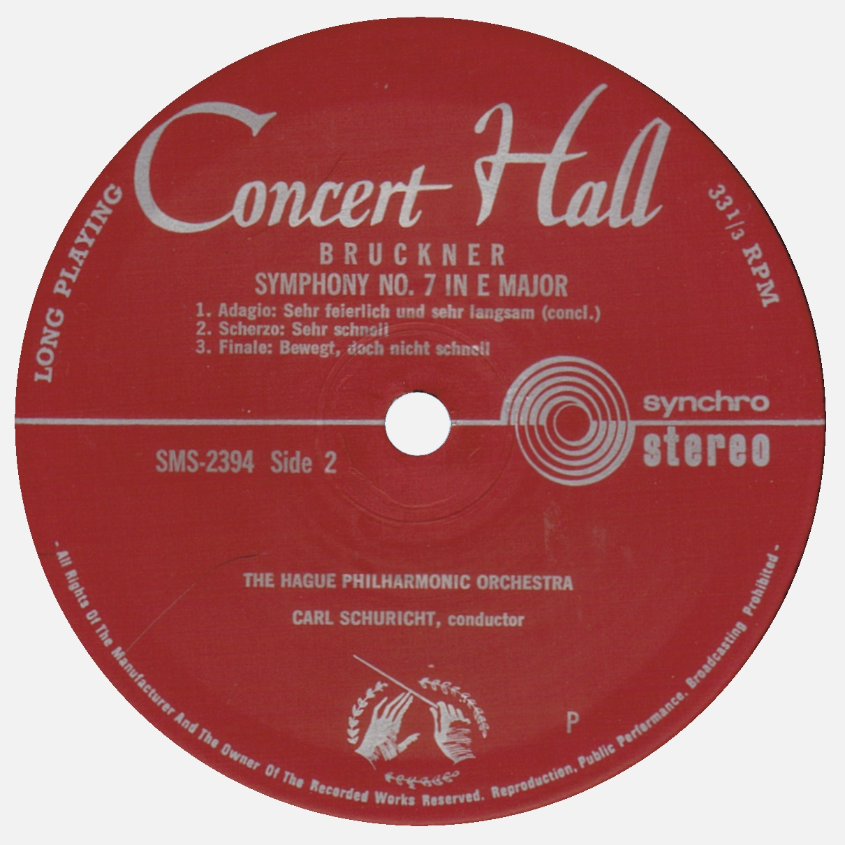 Étiquette verso du disque Concert Hall / Musical Masterpiece Society SMS 2304