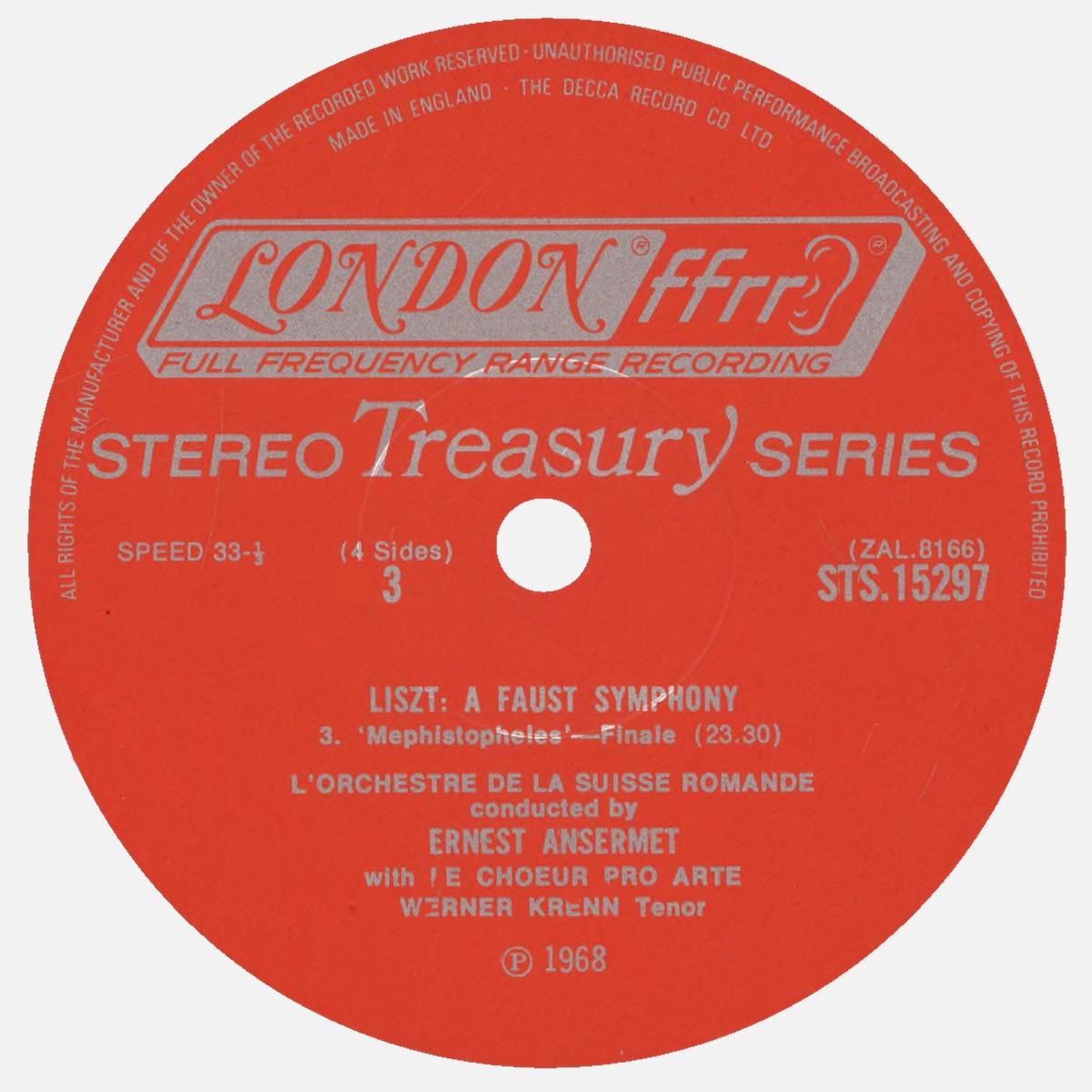 Étiquette recto du disque Decca STS 15297