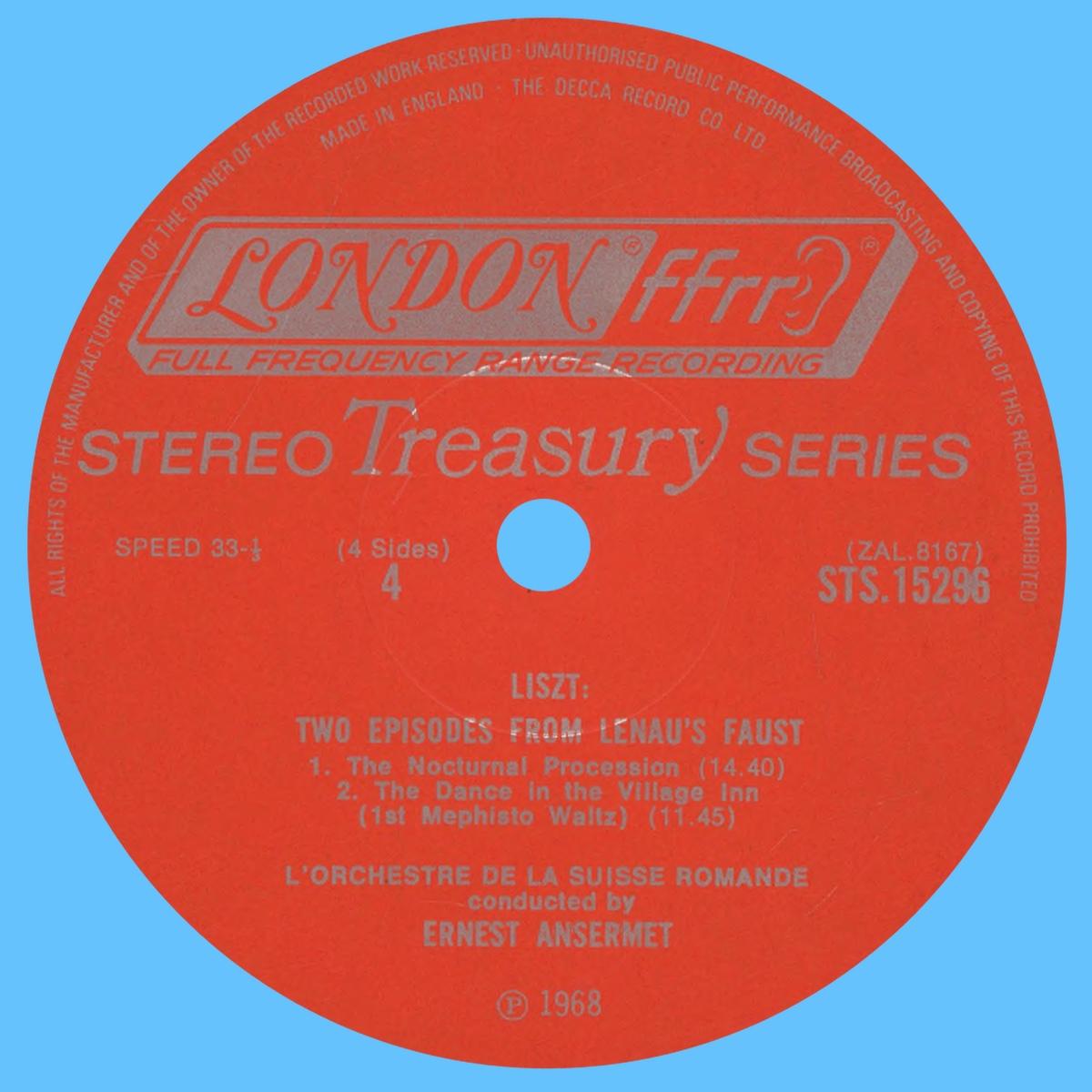 Étiquette verso du disque Decca STS 15297